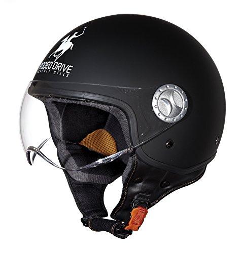 Rodeo Drive Casco de Moto D/Jet Sforabile, Negro Mate, 59-60 (L)