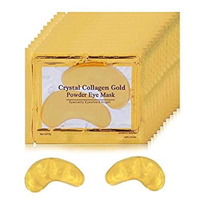 24K Gold Eye Mask, Collagen Under Eye Patches, Under Eye Mask for Dark Circles, Puffy Eyes Wrinkles, Anti Aging, Under Eye Bags Treatment Mask, Under Eye Gel Pads | 20 Pairs from Yanfasy