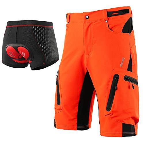 Loose Fit Mountainbike Shorts Herren, Radunterwäsche Shorts 5D Gel Gepolstert, MTB Downhill Sport Kurze Hosen Atmungsaktiv Schnelltrocknend Leichtgewicht,Orange,XL