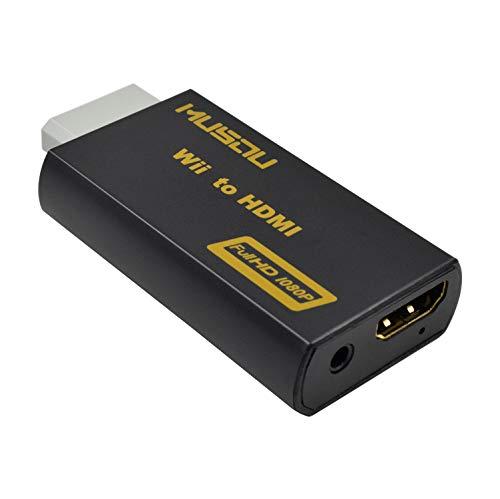 Musou Convertisseur Wii vers HDMI avec jack de 3,5mm, adaptateur Full HD 1080p, commutation automatique PAL/NTSC, aucune source d'alimentation externe Noir