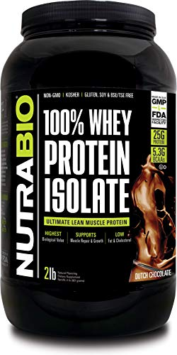 NutraBio 100% Whey Protein Isolate (Chocolate, 2 Pounds)