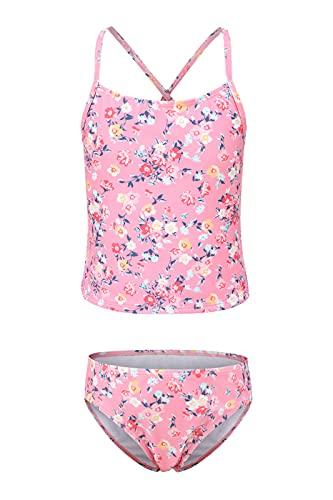 Moon Tree Traje de baño para niña, tankini, traje de baño hawaiano para playa, 3-16 años de edad, Tankini de flores rosas, 14-16 años
