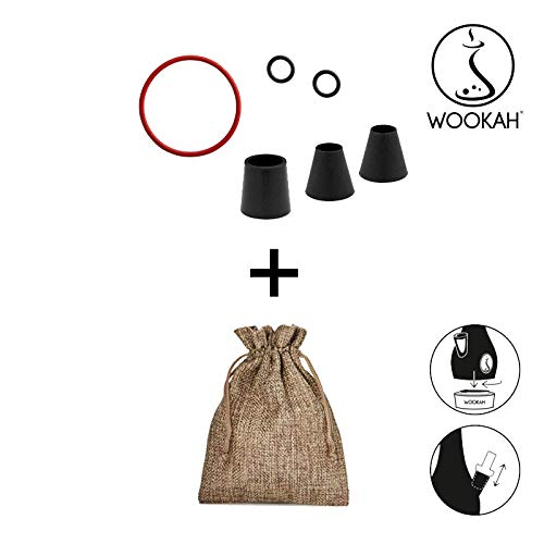 WOOKAH - Juego de Juntas para cachimba (cachimba, Pipa de Agua) y bolsita de Tela con Aspecto de Yute