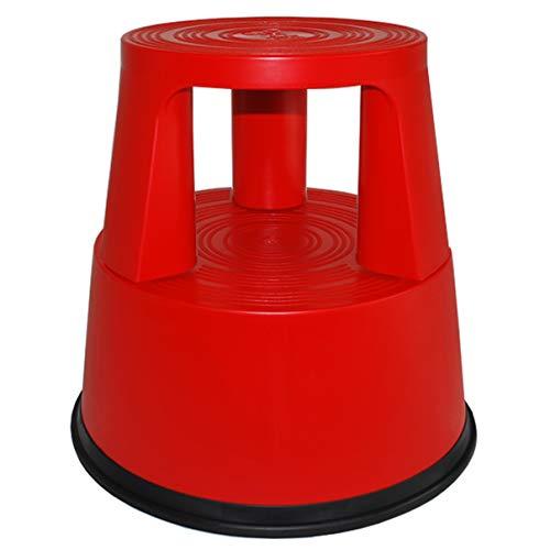 HELO 'K2' Elefantenfuß Tritthocker aus Kunststoff (rot) mit 150 kg belastbar, Anti-Rutsch Standring und Trittflächen, Rollhocker Steighilfe mit 3 versenkbaren Rollen, GS und TÜV Rheinland geprüft