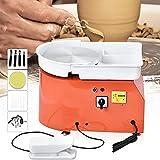HUKOER Rotella di Ceramica elettrica Arancione, Rotella di Ceramica 25WM 350W Che Forma Macchina con Pedali e Bacino Lavabile Staccabile, con 8 Pezzi di Set di coltelli di Argilla (Certificato CE)