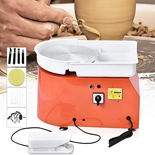 HUKOER Roue de poterie électrique Orange, Roue de poterie 350W 25CM Formant Un Outil d'argile de Bricolage avec pédale et Bassin Lavable Amovible, avec 8 pièces de Couteau en Argile (Certifié CE)