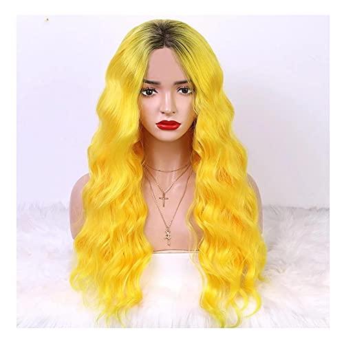 hkwshop Peluca Moda Peluca sinttica Resistente al Calor Wag Wig NO-Corte Wig Cosplay Pelo DE Cosplay Apto para Uso Diario por Parte de Mujeres Sinttico Pelucas (Color : Yellow, Size : 26inches)