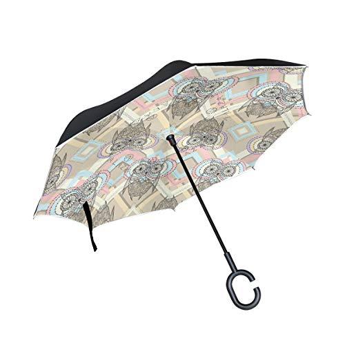 Rode, omgekeerde paraplu, dubbellaags, met C-vormige greep, schattig uilenhuis, winddicht.