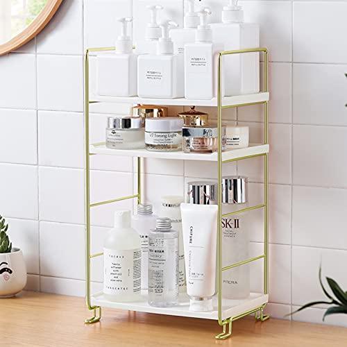 3 Ebenen Eckregal Badezimmer Regal Küchenregal Modernes Tischregal Gewürzregal Make-up Hautpflege Arbeitsplatte Organizer, für Küche Büro Kommode Wohnzimmer Arbeitszimmer (Gold)
