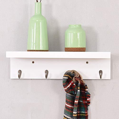 Kapstok SjaalHoed wandkapstok Met Shelf Haken Planken Entree Woonkamer, 3 maten, 3 kleuren Beschikbare hangers (Color : White, Size : 3-piece set)