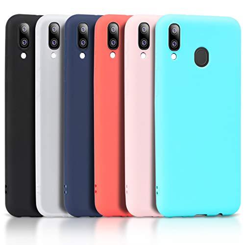 Wanxideng - 6X Cover per Samsung Galaxy A20e, Custodia Morbido Opaco in Silicone TPU - Matt Silicone Case [ Nero + Rosso + Blu Scuro + Rosa + Verde Menta + Bianco ]