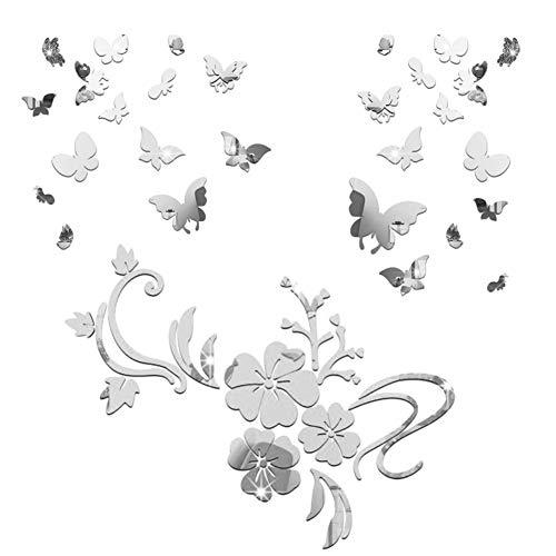 3D Schmetterling Wandaufkleber Spiegel Blumenrank Aufkleber Wandsticker Wandtattoo Wanddeko TV Hintergrund Deko für Wohnzimmer Kinderzimmer Türen Fenster Badezimmer Kühlschrank