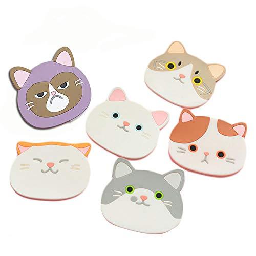 Posavasos de silicona con diseño de gato-Alfombrilla de goma para vin