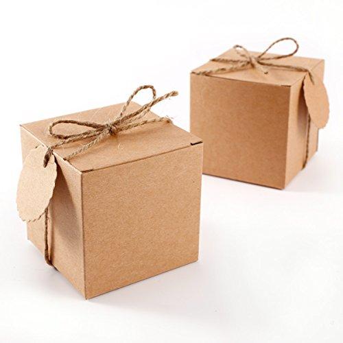 Set de 50 Cajas para dulces bombones Caja kraft de boda regalo Rútico + 50pcs Etiquetas con cuerda Gift Tags Kraft Paper