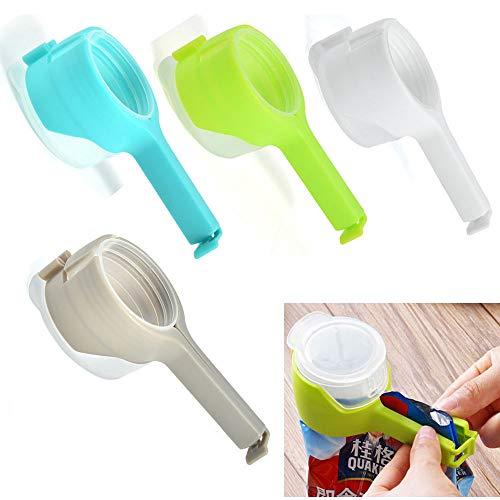 4 clips para bolsas para alimentos, almacenamiento de alimentos, clips de sellado con boquilla de descarga grande, a prueba de humedad, plástico sellador para tapas de cocina, alimentos y aperitivos