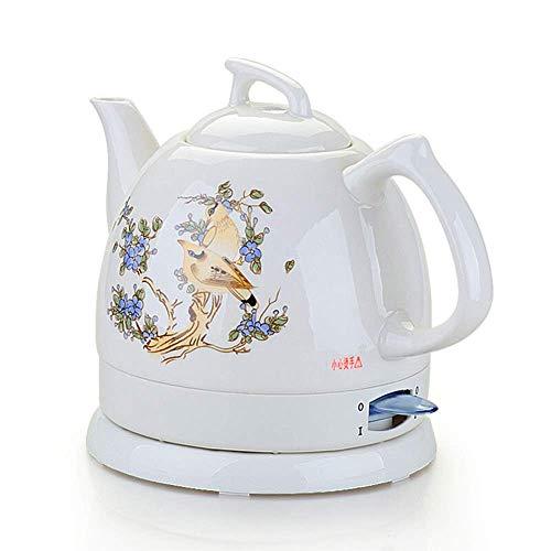 Hervidores - Tetera Blanca inalámbrica eléctrica de cerámica - Jarra Retro de 1.0L, 1000W Hierve Agua rápidamente para té, café, Sopa, Avena - Base removible, Protección para hervir en seco