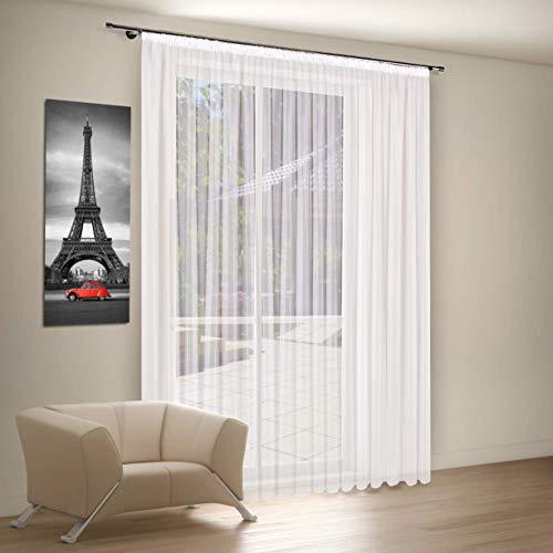 Aix Home GmbH Fertiggardine Gardinen auf Maß | Stores | Weiß | Voile Gardine | Vorhang Kräuselband Universalband, Höhe:230cm, Store Breite:600 cm