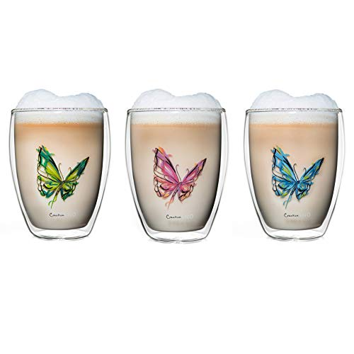 Creano doppelwandiges Tee-Glas, Latte Macchiato, Thermobecher Schmetterling | 250ml in exklusiver Geschenkbox (3er Set)