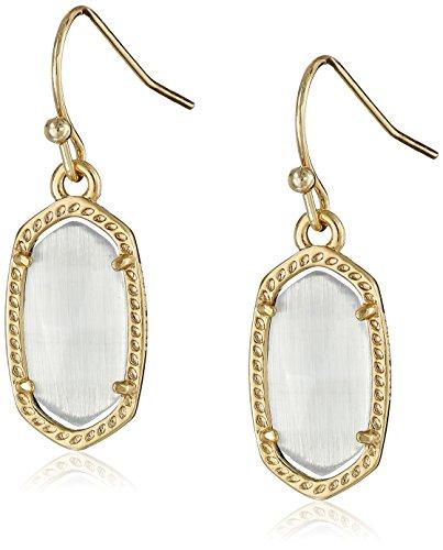 Kendra Scott Lee Drop Earrings for Women, Fashion Jewelry, 14k Gold-Plated, Slate Cats Eye