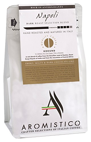 AROMISTICO | Rich Strong Dark Roast | Premium Italian GROUND COFFEE | NAPOLI BLEND | For Cafetiere /French Press, Filter, Pour Over, Drip, Moka or Aeropress | SMOKY, MALTY & DARK CHOCOLATE-Like