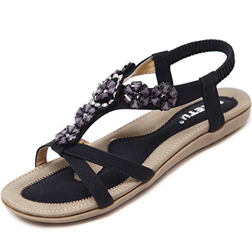 Offene Sandalen Damen Sommer Schuhe mit Blumen Strass Flach Bohemian Sandaletten Frauen mit Weiche Fussbett Outdoor Freizeit Beach Strandschuhe Schwarz 37 EU = Herstellergröße 38