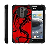 TurtleArmor | Compatible with LG K7 Case | LG Tribute 5 Case | LG Treasure Case [Dynamic Shell] Hybrid Dual Layer Hard Shell Kickstand Silicone Case - Red Dragon
