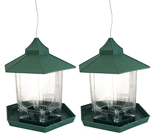 Selections Green Hanging Chalet Bird Feeders for Seed and Nut (set of 2)