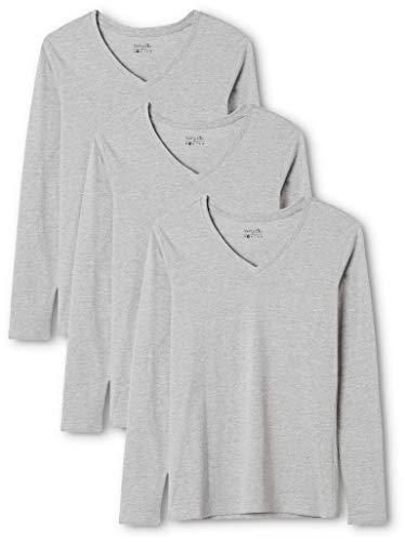 Berydale Damen Langarmshirt mit V-Ausschnitt, 3er Pack, Grau, XL