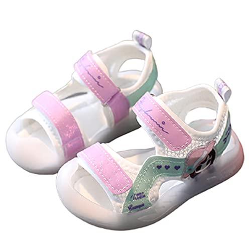 Sandalias con luces LED para niñas y niños, para playa, piscina, antideslizantes, lindas, unisex, para verano (tamaño: 24EU, color: blanco)