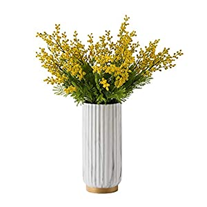 Artificial Flower Artificial Yellow Acacia Flowers Mimosa Plush Silk Flower Fake Flower Vase Set Home Wedding Party Table Decor Decoration Fake Flower (Color : Marble vase+Flower)
