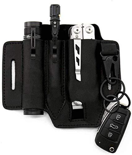 Multitool Lederetui EDC Pocket Organizer – Hohe Lederqualität – mit Schlüsselhalter für Gürtel und Taschenlampe, Multitool-Tasche (schwarz)