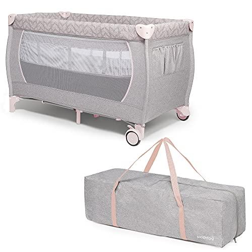 skiddoü Reisebett, Lunar zusammenklappbares Babybett, leichte Konstruktion, kompaktes Kinderbett, verstellbare Höhen Reisekinderbett Babyreisebett bequemes Reisebabybett einfache Aufbaung, rosa, Twin