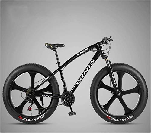 Bicicletas de MontañA 26 Pulgadas, Marco De Acero Al Carbono De Alta Bike Bicicleta Fat Tire, Bicicleta De Freno De Doble Disco De MTB, Unisex Adulto,Black,30 Speed 5 Spoke