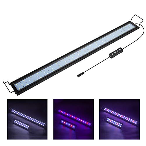 Hygger 20W Full Spectrum Aquarium Light with Aluminum Alloy Shell Extendable Brackets, White Blue Red LEDs, External Controller, for Freshwater Fish Tank (30-36 inch)