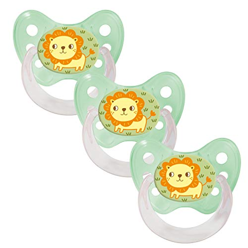 Dentistar® Silikon Schnuller 3er Set - Baby Nuckel Größe 1, 0-6 Monate - Beruhigungssauger für Babies und Kleinkinder - zahnfreundlich und kiefergerecht - Made in Germany- BPA frei - Lion