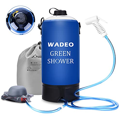WADEO Upgarde Camp Shower, 3 Gallons Portable Outdoor Camping Shower Bag Pressure Shower with Foot Pump and Shower Nozzle for Beach Swim Travel Hiking Backpacking - 12L, Blue