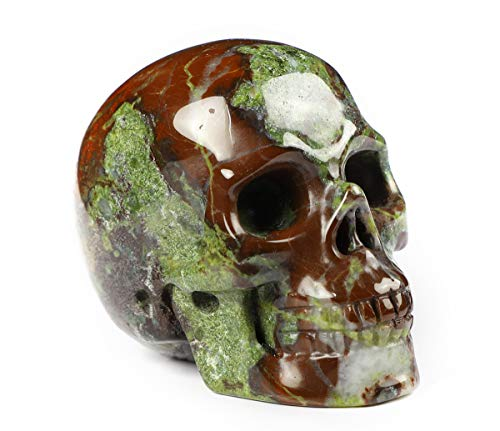 Skullis 2.0' Dragon Blood Jasper Crystal Skull, Hand Carved Gemstone Fine Art Sculpture, Reiki Healing Stone Statue