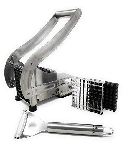 French fry cutter Stainless steel with 2 Blade Size Cutter  potato slicer commercial grade and NonSlip Suction  potato chopper  fries cutter  potato dicer  potato peeler  potato cutter