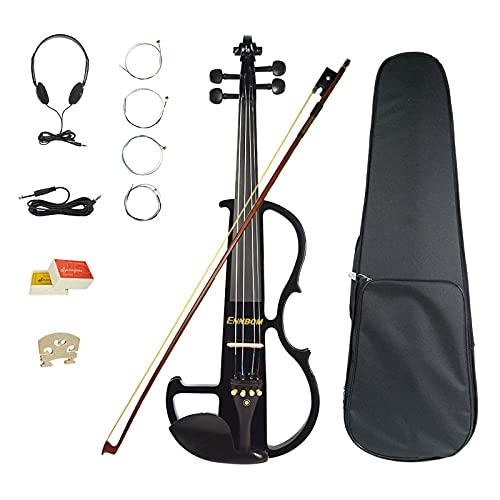 Ennbom 改良版エレキヴァイオリン エボニー サイレント バイオリン 4/4 つや 初心者入門セット(ブラック/black)