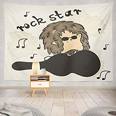 Geericy Hedgehog Tapestry, Wall Hanging Tapestry Cool Hedgehog Stand Guitar Case Hedgehog Rock Star Dark Wall Tapestry Dorm Home Decor Bedroom Living Room in 80X60,Dark Black
