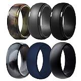 Silicone Wedding Ring for Men, 6 Pack Breathable Silicone Rubber Wedding Bands Thin Silicone Ring - 8.7 mm Wide( Camo ,Blue,Dark Grey,Black) (Camo ,Blue,Dark Grey,Black, Size 10 - (19.76 mm))