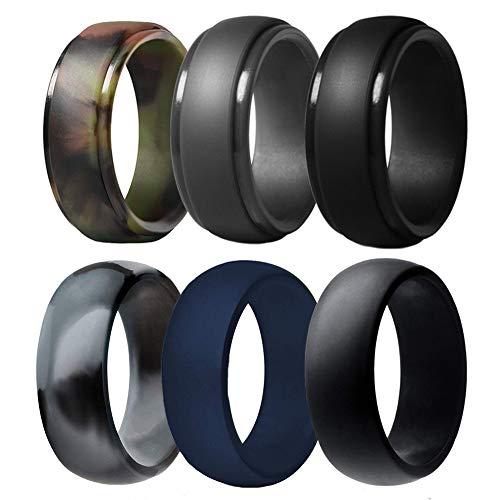 Silicone Wedding Ring for Men, 6 Pack Breathable Silicone Rubber Wedding Bands Silicone Ring - 8.7 mm Wide( Camo ,Navy Blue,Dark Grey,Black) (Camo ,Blue,Dark Grey,Black, Size 12 - (20.30 mm))
