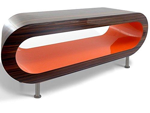 Zespoke Design Retro Noyer Rayé et Orange Cerceau Table Basse TV/Meuble en Différentes Tailles