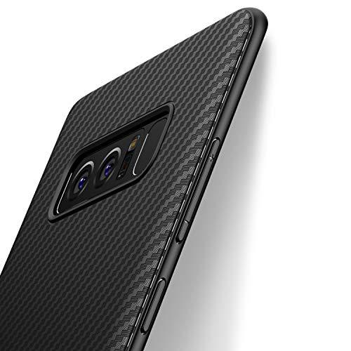 Coque Samsung Galaxy Note 8, J Jecent [Fibre de Carbone] Silicone TPU Souple Bumper Case Cover de Protection Premium Non Slip Surface Housse Etui [Anti-Choc et Anti-Rayures] 6.3 pouces - Noir