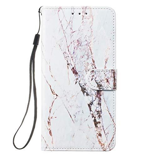 Funda para Sony Xperia L3, 3D pintada con absorción de golpes, funda de piel sintética de alta calidad con ranura para tarjetas, funda para dinero, cierre magnético, White marble