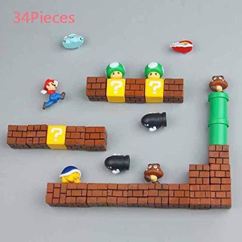 Aimants de réfrigérateur3D Super Mario résine jouets pour enfants décoration de la maison ornements figurines mur Mario aimant balles briques, 34 combinaisons