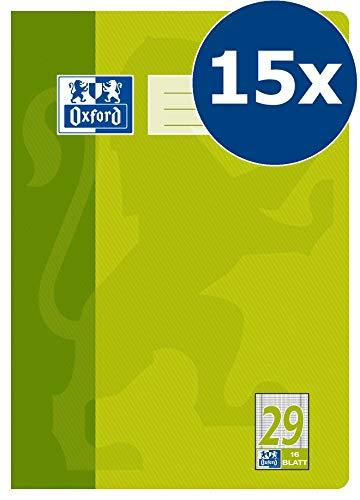 Oxford Schule Schulheft A4, rautiert, Lineatur 29, 16 Blatt, grün, 15er Pack