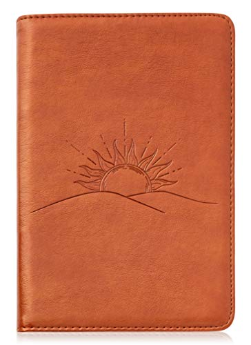 Sunrise Writing Journal by SohoSpark, Refillable Faux Leather, Lined Personal Diary for Travel, 6x8.75 Notebook for Writers. Fountain Pen Safe with Lay-Flat Binding