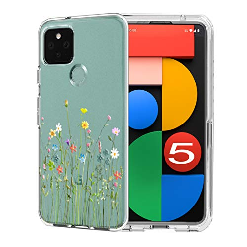 Unov Hülle Kompatibel mit Pixel 5 Hülle klar Transparent Schlanke Schutzhülle Weich TPU Stoßstange Geprägtes das Muster Stoßdämpfung 6 Zoll (Blumen Blumenstrauß)