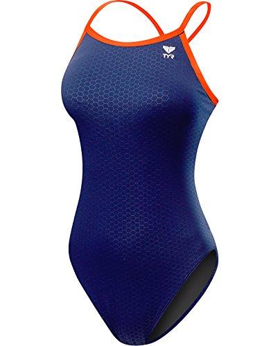 TYR Women's Hexa Diamondfit Swimsuit, Navy/Orange, 28
